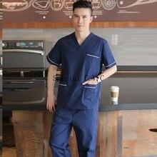 Men's Scrubs Set Pure Cotton Doctor Uniforms Classic V-neck Short Sleeve Shirt with Side Vent + Elastic Waistline Pants