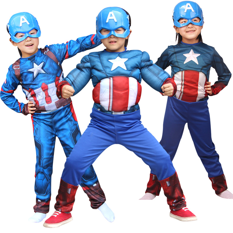 NoEnName Free Shipping Costumes for kids anime cosplay spiderman wonder Kids America Captain Muscle Avengers Super Hero Mask
