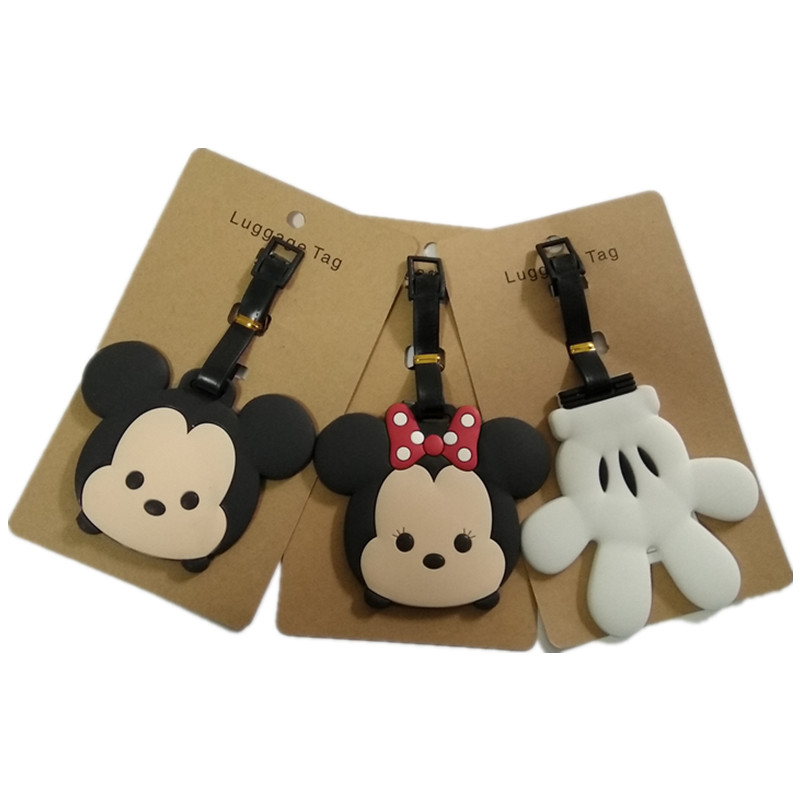 New Mickey Minnie Luggage Tag Travel Accessories Portable Fashion N TSUM ID Address Baggage Labels Suitcase Boarding Tagsne