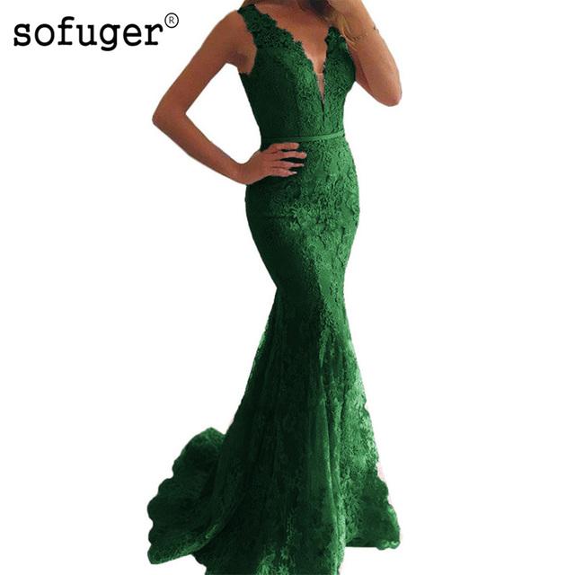 V-Neckline Illusion Back Mermaid Evening Dress vestidos de fiesta largos elegantes de gala Lace Long Prom Dresses