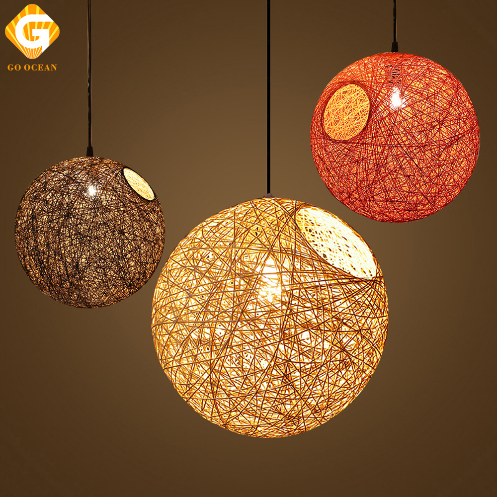 Us 11 67 35 Off Pendant Lights Led Bamboo Light Rattan Colorful Bar Cafe Home Art Country Weaving Hanging Lamps For Dining Room Loft Lighting In