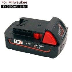 Akumulator 18V 2A Li-ion akumulatorki zamienne do elektronarzędzi Milwaukee M18 48-11-1820 48-11-1840 wiertarki akumulatorowe