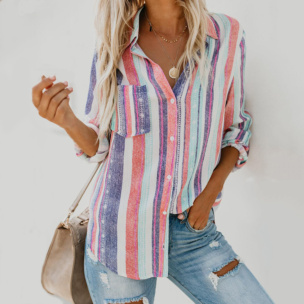 Large Women   Blouse   Ladies Fashion Color Stripes Autumn   Shirt   2019 New European   Shirts   Female Womens Top and   Blouses   XXL