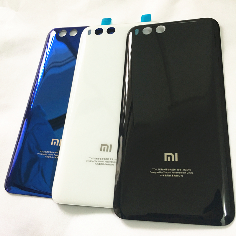 Door-Housing Glue-Sticker Battery Rear-Cover-Case Glass Back MCE16 Xiaomi Mi6 Transparent