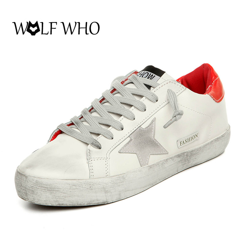WOLF WHO Italy Golden Do Old Star Shoes Leather Korean Sneakers Women Casual Shoes Shoes Footwear Chaussure Femme Women's Flats 2017 italy new brand designer golden genuine leather casual men shoes goose all sport star breathe shoes footwear zapatillas
