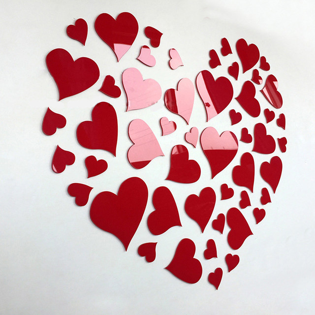 Romantic DIY Art 3D Acrylic Love Heart Wall Sticker Bedroom Living Room  Wedding Decoration Wall Stickers Muraux Wallpaper Y3
