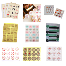 DIY Thank you Heart Round Rose Flower Vintage pegatinas hechas a mano marca Kraft Sticker para regalo pastel bolsa de hornear sellado adhesivo
