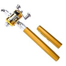 Portable Mini Fishing Rod Pocket Telescopic Mini Fishing Pole Aluminum Alloy Pen Shape Fishing Rod With Reel Wheel