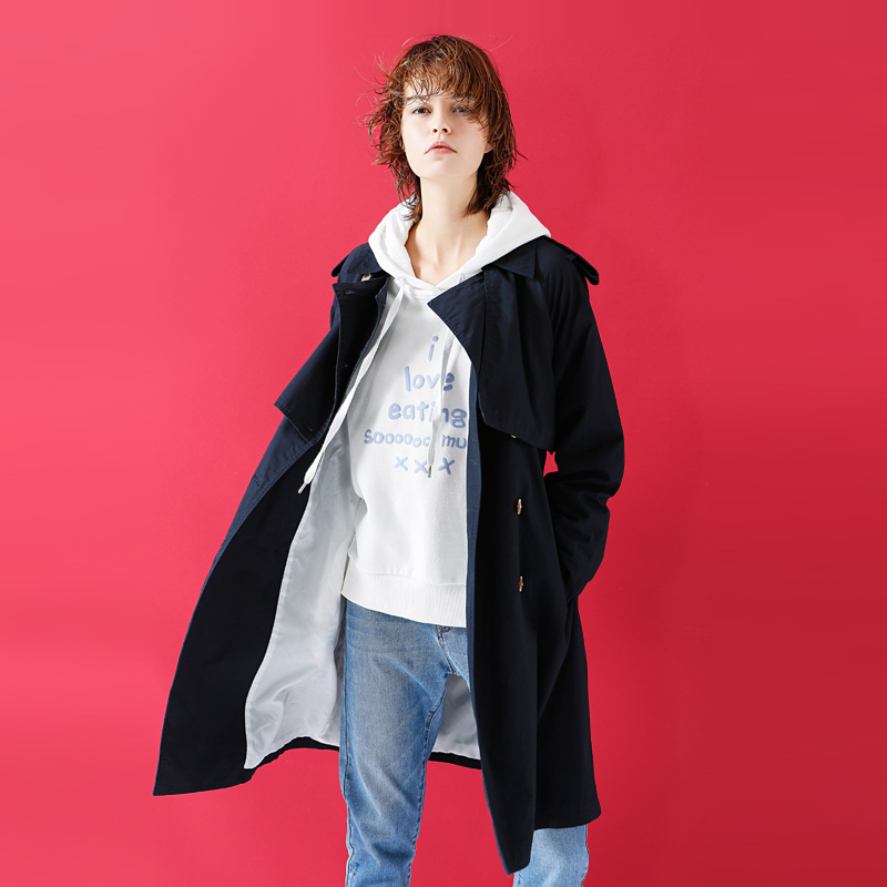 Toyouth Women Autumn Double-Breasted   Trench   Coats Casual Turn-Down Collar Outerwear Coat Solid Windbreaker With Belt