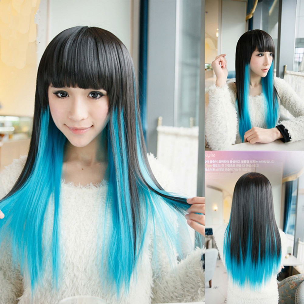 New Style Highlights Womens Ladies Long Straight Full Wigs Hair