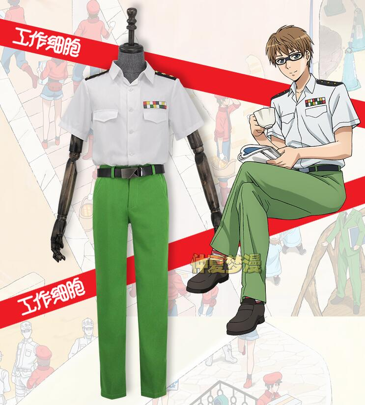 Anime Cells At Work Helper T Cells Uniform Suit with Belt Cosplay Custome Hataraku Saibou Party Cosplay For Men Halloween Outfit