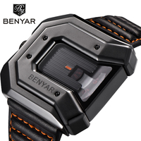 BENYAR Mens Quartz Watch Luxury Unique Leather Waterproof Men Watches Irregular Shape New Design Sports Male
