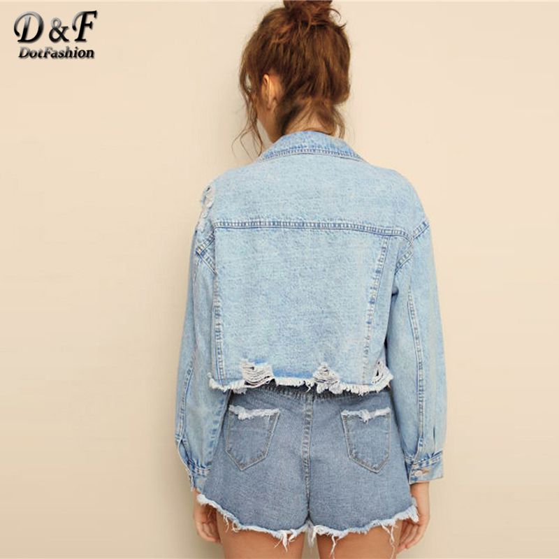 Image 3 - Dotfashion Blue Ripped Frayed Edge Flakes Crop Denim Jacket Women 2019 Autumn Casual Single Breasted Clothing Autumn Solid Coat-in Jackets from Women's Clothing