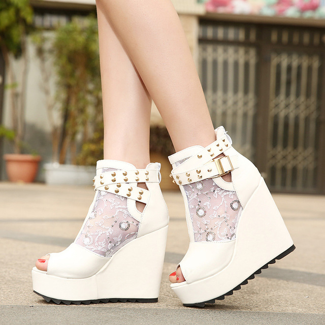 04a4ac5df1f Lace Summer Boots Party Fashion Shoes Woman Sexy Open Toe High Heels  Platform Pumps Women High Heels White Black Pumps