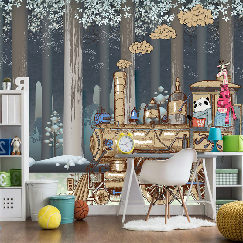customized 3d photo non-woven wallpaper Nordic cartoon animal train forest children room 3d mural background wall home decor mew forest heart printed room decor wall sticker