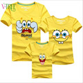 Fashion summer mother father baby clothes cartoon sponge Bob family matching outfits mother and daughter son kids t-shirt cheap