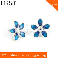 Newest Fashion Style 925 Sterling Silver Girl Design Beautiful Blue Flower Shape Earring For Mounting Pearls