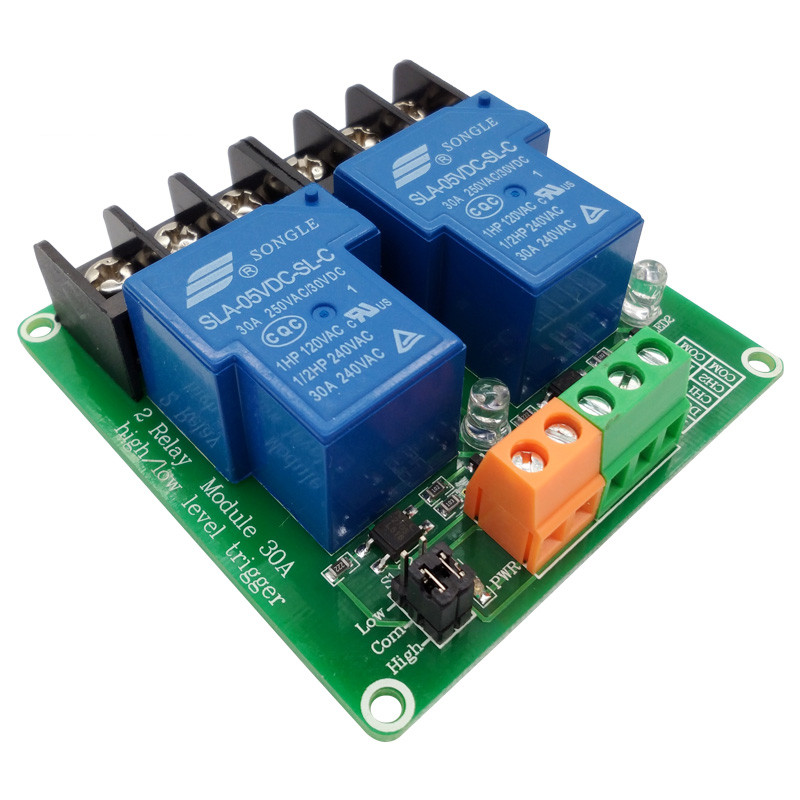 two 2 channel relay module 30A with optocoupler isolation 5V 12V 24V supports high and low Triger trigger for Smart home 5v 2 channel ir relay shield expansion board for arduino