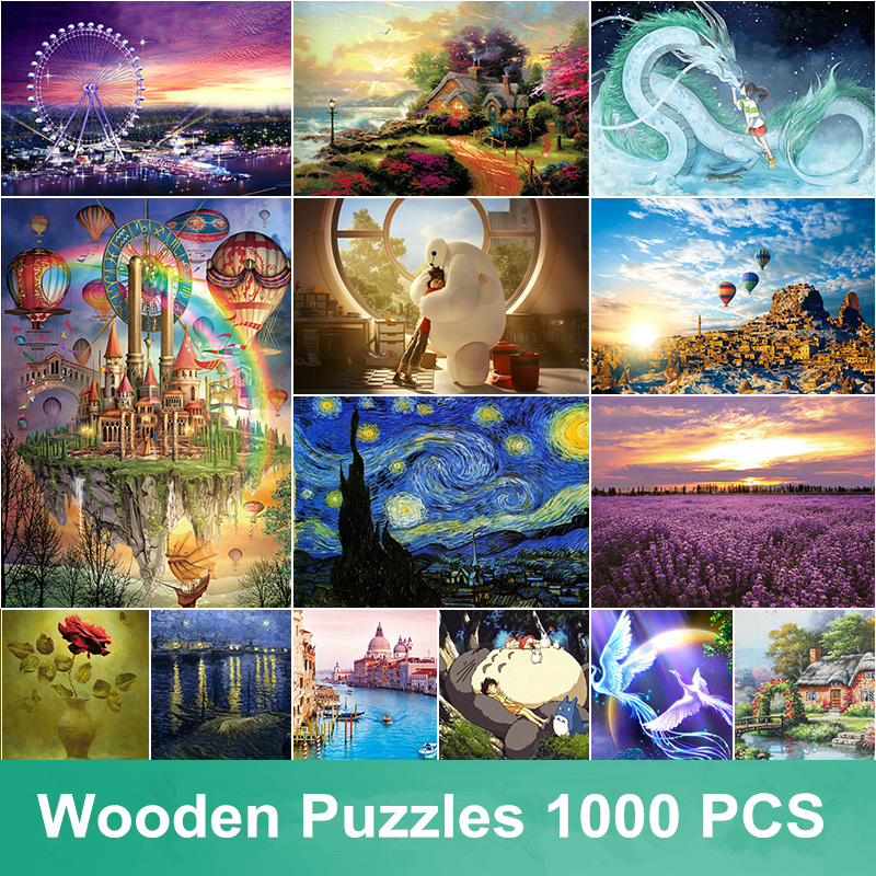 New Wooden Puzzles 1000 pcs Adult Wool DIY Wood jigsaw Puzzle Educational Normal Puzzle Toys For Child Kid Christmas Gift