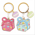 Brand New Gift Macaron KEYCHAIN 2016 Super Cute Cartoon Key Chain Best Gift For Girls Bag Car Key Ring Lovely Exquisite KEY