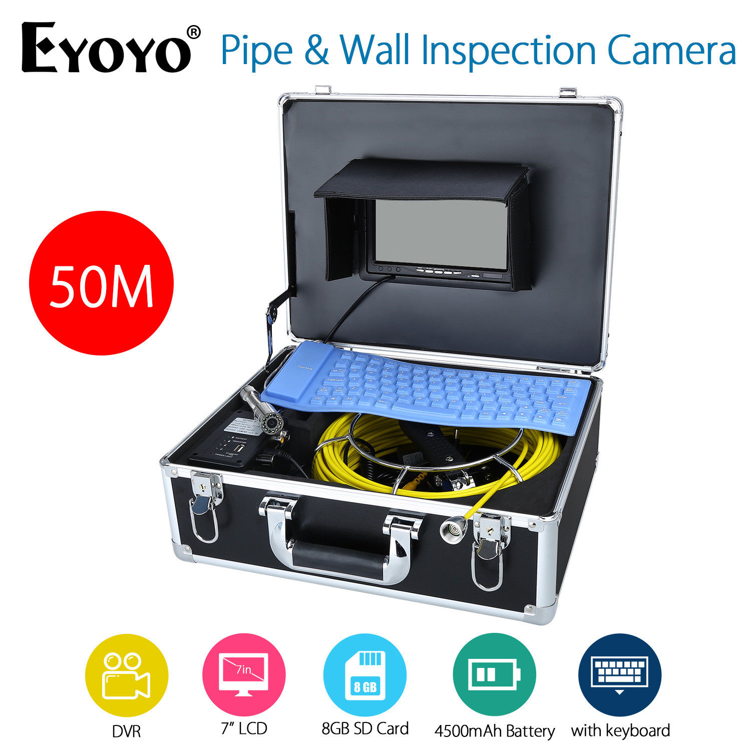 Eyoyo 50M 7 LCD Pipe Wall Inspection Camera HD 1000TVL DVR Endoscope Snake Sewer Cam Video Recording With Portable Keyboard