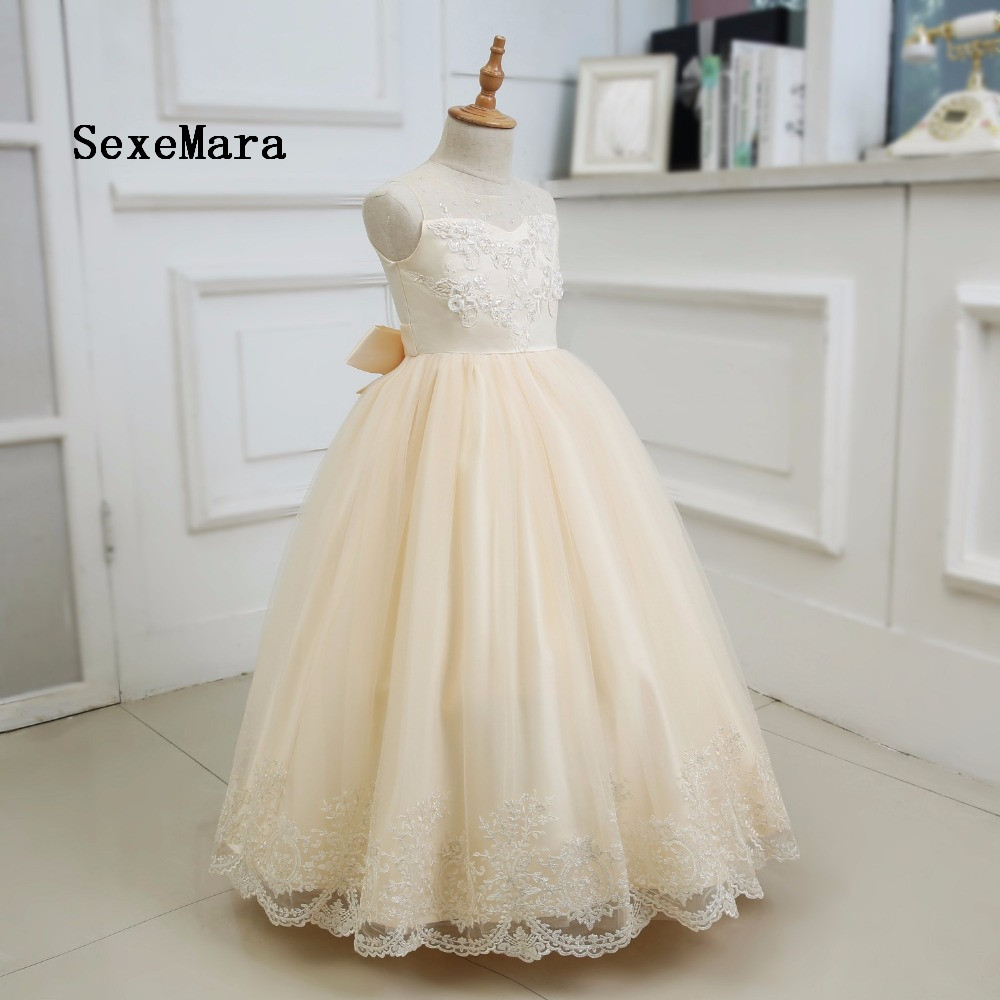 Real Picture Champagne Tulle Long Flower Girls Dresses For Wedding Beading Appliques Lace Bow Sash First Communion Prom Gowns