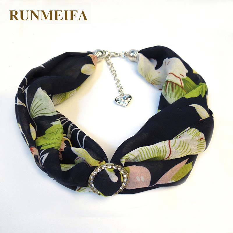 RUNMEIFA Printed Chiffon Necklace Clavicle Bib Ring Clasp Alloy Jewelry Scarves Silver Pendant Europe/America Multicolor Cloth