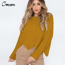 CWLSP 2018 New 4 Color Solid Cotton Sweater Women Long Sleeves O Neck Casual Tops Loose Sweater Short Tops QZ2913 недорго, оригинальная цена