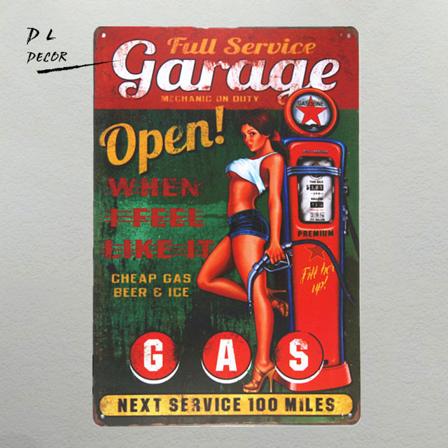 DL Garage Open GAS Wall Plaque Metal Sign Word Art Antique Tray Home Decor Pin