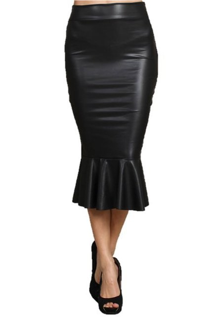 Women Plus Size XXS-5XL 8XL Black Fitted PU Faux Leather Skirt with Trumpet Fishtail Hem Summer Womens Casual Saias Skirts