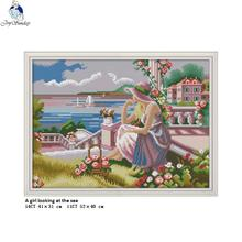 Joy Sunday A Girl looking at the Sea, Cross-stitch Kits DMC Cotton thread, 11CT and 14CT Embroidery Wholesale DIY Hand Crafts все цены