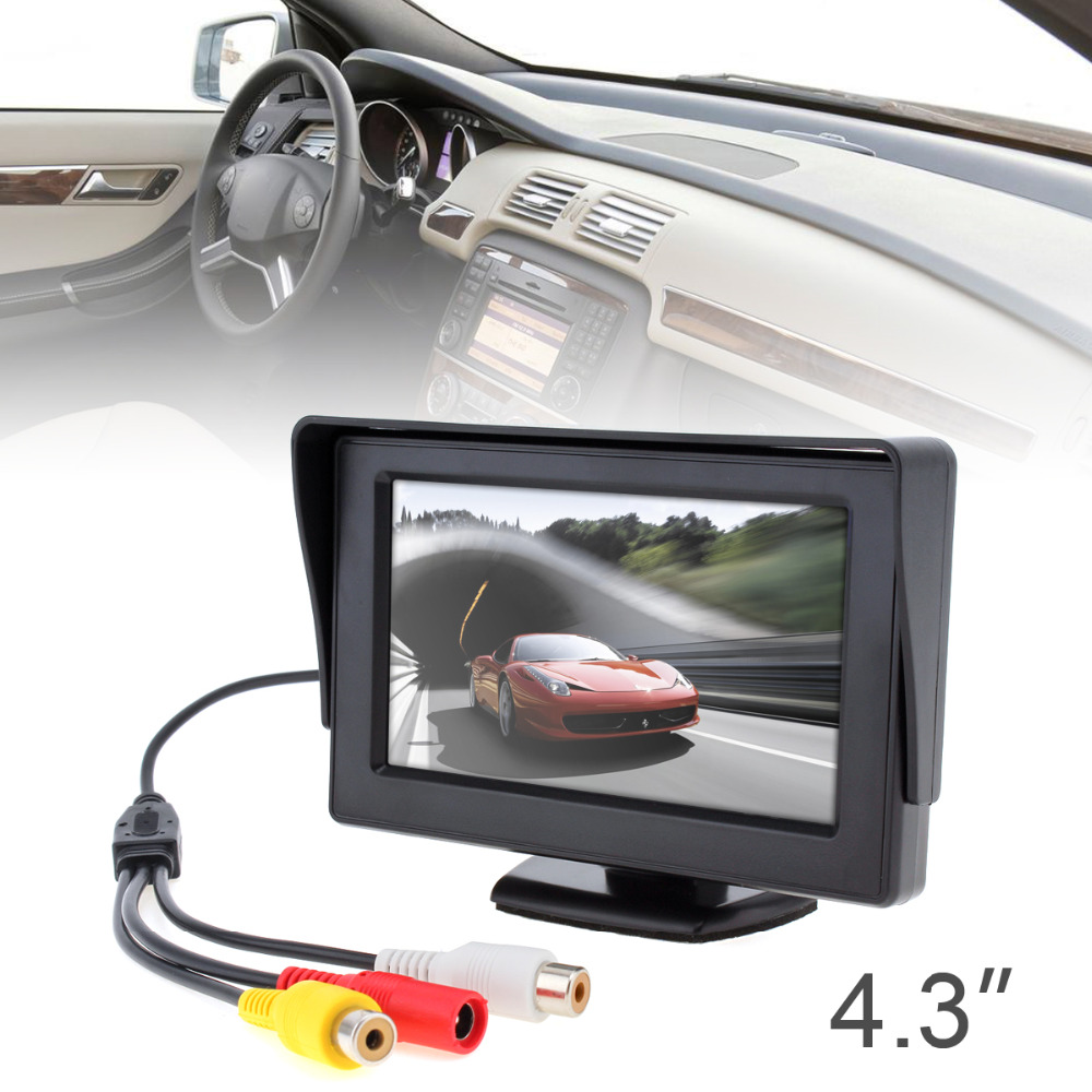 4.3 Inch HD Color TFT LCD Car Rear View Monitor 2ch Video Input Auto Reverse Parking Monitor for Reaview Camera DVD VCD