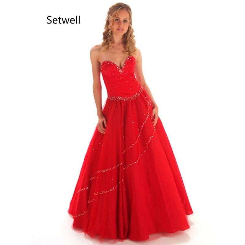 Setwell 2017 chérie dos nu Quinceanera robes doux Tulle rouge Quinceanera robes de haute qualité Sequin Quinceanera robe