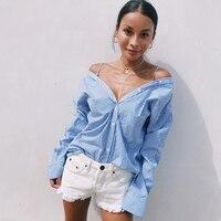 Woman New Fashion Autumn Long Sleeve Kimono Blue Stripe Off The Shoulder Blouse Shirt Ladies Clothing