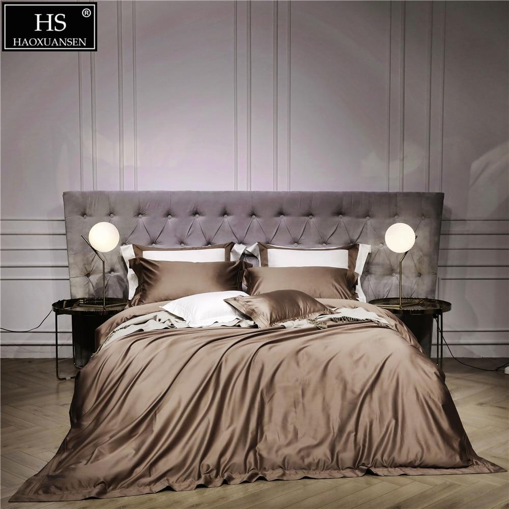140 S Египетский кофе роскошные современные постельные принадлежности набор 4 шт. King queen кровать простыни набор пододеяльников для пуховых од