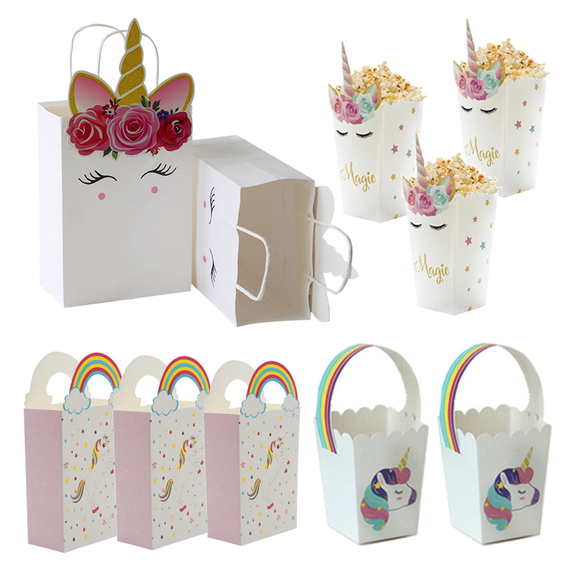 Unicorn <font><b>Paper</b></font> Candy <font><b>Box</b></font> Bags <font><b>With</b></font> <font><b>Handles</b></font> <font><b>Kraft</b></font> <font><b>Paper</b></font> Gift Bag Popcorn <font><b>Box</b></font> Baby Shower Birthday Party Supplies Wedding Decor image