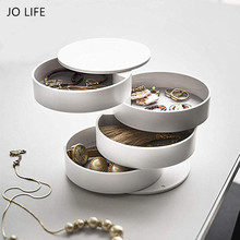 JO LIFE Home Bracelets Ring Earrings Collection Storage Rack Nordic Style Rotating 4 Layers Jewelry Box