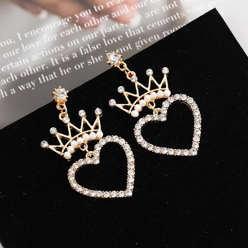 Crystal Pearl Crown Earrings for Women Geometric Heart Star Pearl Earring Girls Wedding Party Statement Earings Fashion Jewelry