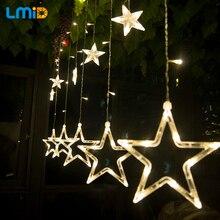 LMID AC110V-220V de Fadas Romântico Estrela LEVOU Cortina Corda Iluminação Luzes De Natal Para O Feriado de Casamento Garland Decoração Do Partido