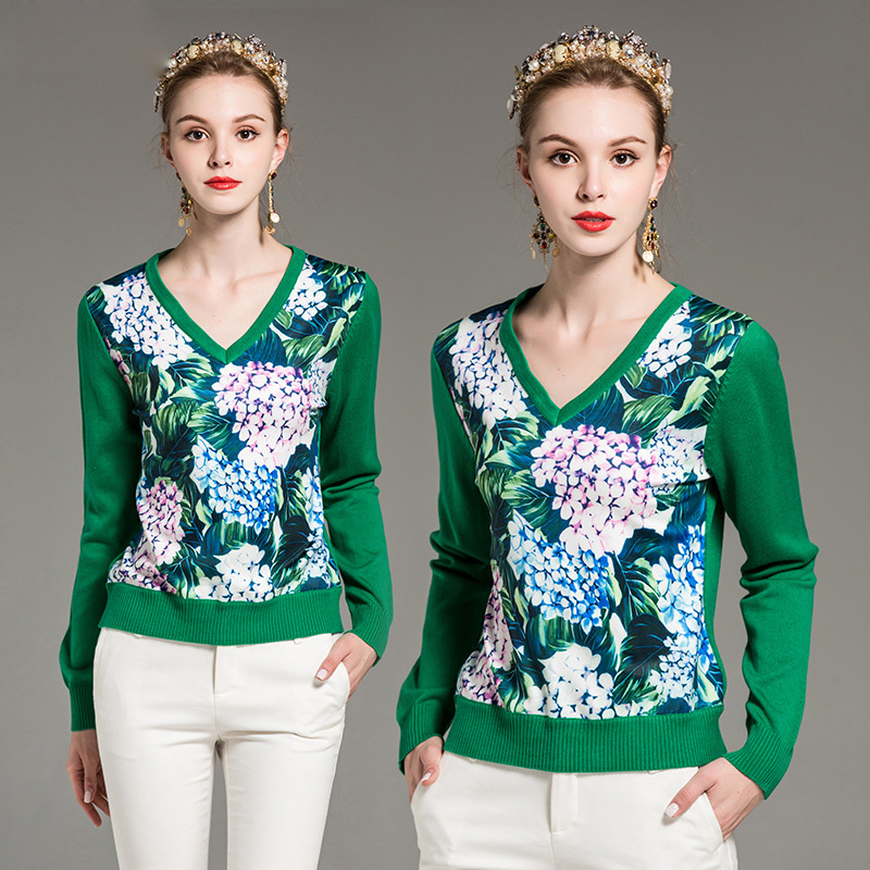 High quality new autumn/winter designer fashion sweater Women's long-sleeved v-neck printed green casual sweater
