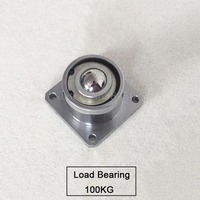 2PCS Heavy Duty Bearing Steel Caster Universal Ball Down With Flange Ball Wheel 4 Hole Cattle