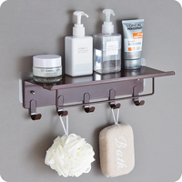High Quality Iron wall hanging towel clothes storage rack holder hat key shelf with 5 hooks home bathroom decor.