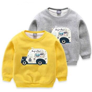 2-7 Years Long Sleeve Children Clothing Fashion Thicken Cartoon Car Boys T-shirts Winter Warm Sweatshirts Cute Korean Camisetas