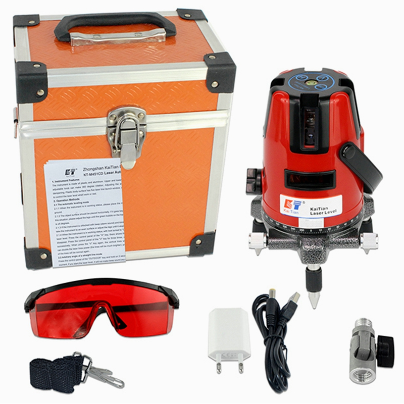 KaiTian Laser Levels 5 Lines 6 Points Self-Leveling 360 Rotary Horizontal 635nm Vertical Red Lasers Beam Cross Lazer Level Tools kacy al04 laser level 2 line rotary 360 leveling 1v1h horizontal and vertical cross lazer levels lines excluding tripod