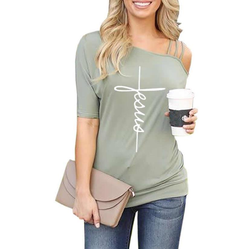 New Arrival Faith Letters Print T Shirt For Women Slanted Shoulder Sleeve Plus Size Tops T Shirt Female Tshirt Cropped Size Off in T Shirts from Women 39 s Clothing