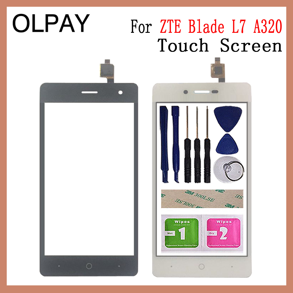 OLPAY 5.0 Inch New 100% Original Touch Screen Digitizer For ZTE Blade L7 A320 Touch Panel Touchscreen Lens Front Glass Sensor