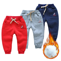 Fashion Kids Sports Pants Autumn Winter Thickening Warm Trousers Embroidered Pockets Design Pants Kids Clothing For Baby Girls