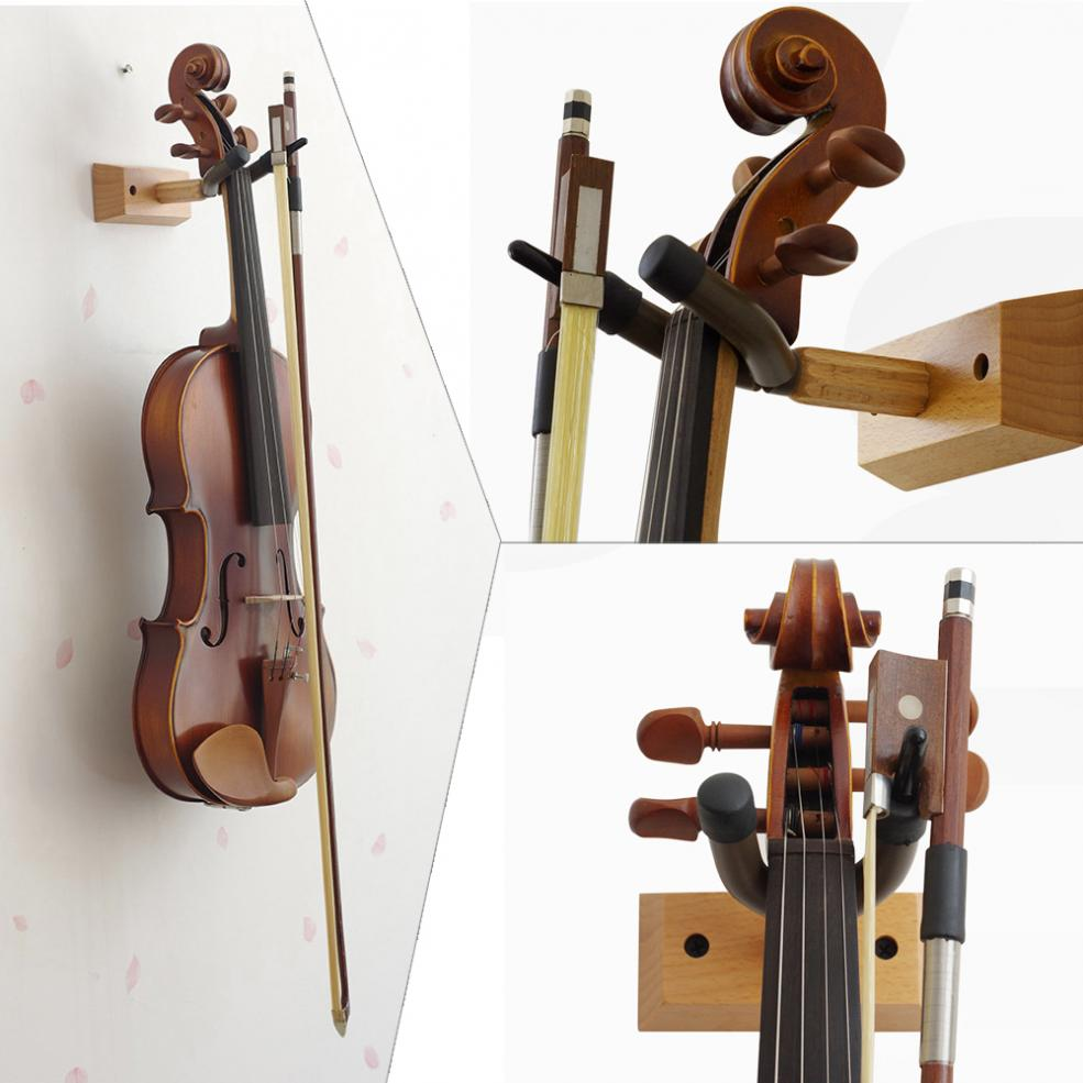 Flanger Durable Wood Base Wall Mount Violin Hanger Hook Holder with Bow Holder for Home and Store Show Storage Violin