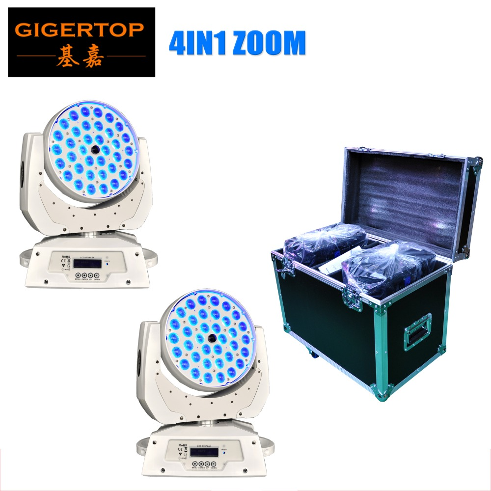 TIPTOP 2IN1 Flightcase Pack 2 Unit 36x10W Led Moving Head Zoom Light White Painting Smooth Dimmer Silent Zoom Working 14 Channel