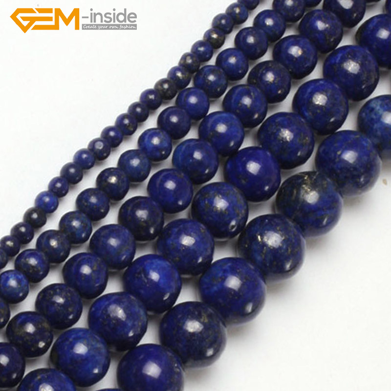 Gem-inside 2-20mm Dyed Color Round Stone Beads Lapis Lazuli Beads For Jewelry Making Beads 15inch DIY Beads Jewellery